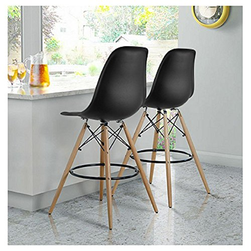 fancyhouse Set of 2 Bar stool High Chair Bar Modern Stool Style Eames Style DSW Counter Height Natural Wood Legs -White ()