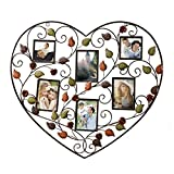 DecentHome 6-Opening Decorative Bronze Iron Metal Wall Hanging Collage Photo Frame Heart Shape