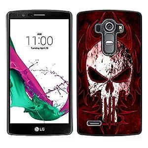 Design for Girls Plastic Cover Case FOR LG G4 Black Red Punisher Skull OBBA