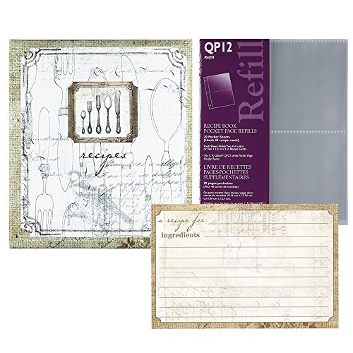 C.R. Gibsons Perfect Setting Kitchen Recipe Binder Bundle with Bonus Refill Sheets & Recipe Cards