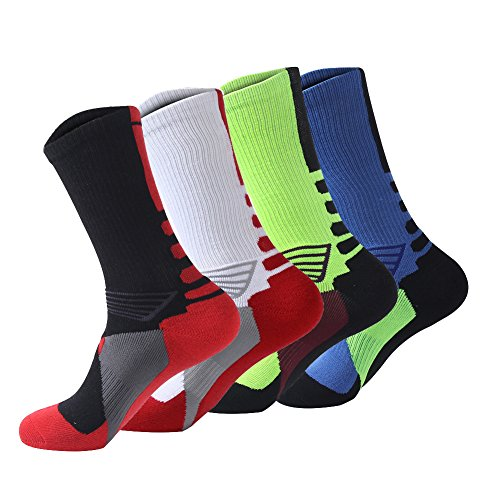 Ehdching 4 Pack Men's Compression Cushion Basketball Athletic Sport Peformance Crew Socks (4 Pairs, Style 2)