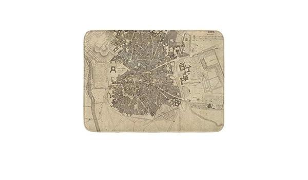 LiminiAOS Alfombrilla Spainspain Madrid España Grabado Mapa Relieve Mostrado Decoración Baño Alfombra: Amazon.es: Hogar