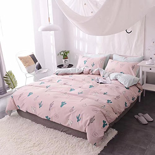 HIGHBUY Cactus Print Kids Duvet Cover Set Full 100% Cotton Pink Striped Children Duvet Cover with Zipper Closure 3 Piece Reversible Bedding Set Queen for Girls by HIGHBUY (Image #4)