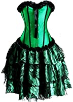 Basque Lace Up Green Overbust Corset Bridal Lingerie With Long Dress
