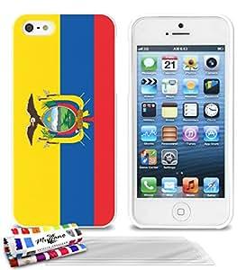 """Carcasa Flexible Ultra-Slim APPLE IPHONE 5 de exclusivo motivo [Ecuador Bandera] [Blanca] de MUZZANO  + 3 Pelliculas de Pantalla """"UltraClear"""" + ESTILETE y PAÑO MUZZANO REGALADOS - La Protección Antigolpes ULTIMA, ELEGANTE Y DURADERA para su APPLE IPHONE 5"""