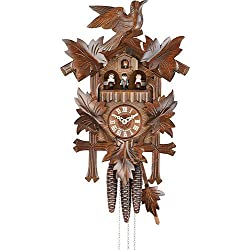 German Cuckoo Clock 1-day-movement Carved-Style 14.00 inch - Authentic black forest cuckoo clock by Hekas
