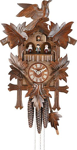 - German Cuckoo Clock 1-day-movement Carved-Style 14.00 inch - Authentic black forest cuckoo clock by Hekas