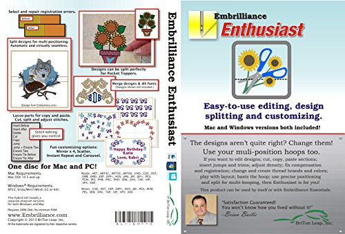 Embrilliance Enthusiast Embroidery Software for Mac & PC (Embroidery Designs Software)