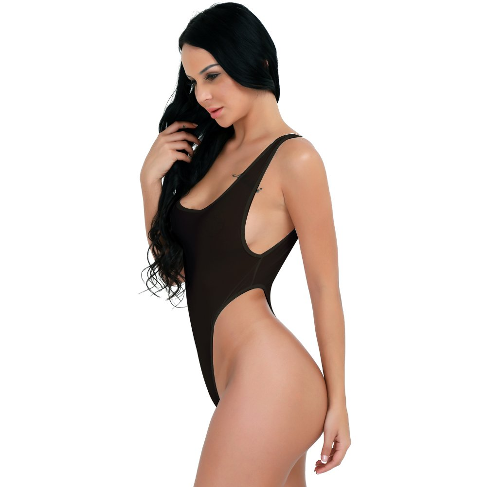 Amazon.com  FEESHOW Women s See Through High Cut Bodysuit Thong Swimsuit  Sheer Mesh Leotard Top Black one Size  Clothing 826cb3cfb