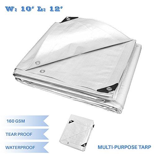 (E&K Sunrise 10' x 12' Finished Size General Multi-Purpose Tarpaulin 10-mil Poly Tarp - White)