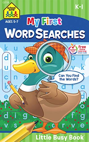 (School Zone - My First Word Searches Workbook - Ages 5 to 7, Kindergarten to 1st Grade, Activity Pad, Search & Find, Word Puzzles, and More (School Zone Little Busy BookTM Series))