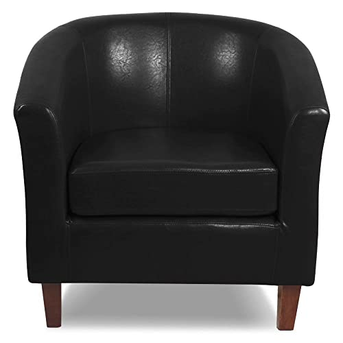 go2buy Black Antique Faux Leather Club Chair Living Room Armchair Reception Barrel  Chair - Antique Leather Chairs: Amazon.com