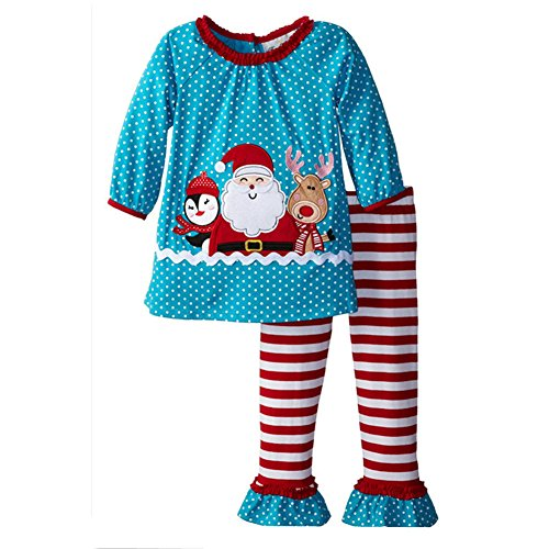 Santa Skin Suit (2-6 Years Girls Set Santa Claus Dot Long Sleeve and Striped Pants Girls Suit (2T))