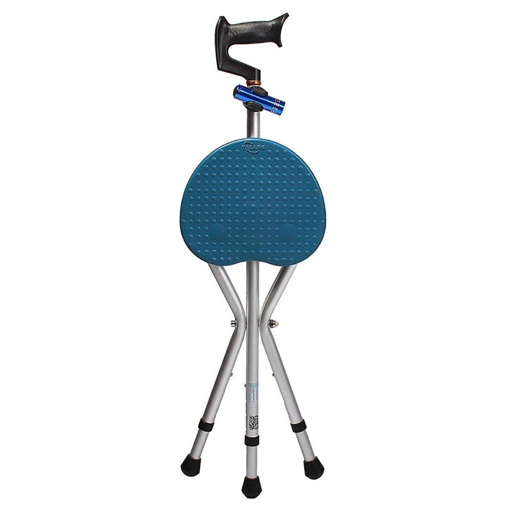 LYGT- 折りたたみ椅子松葉杖三角杖スツール老人杖歩行補助器具軽い合金ブラウンブルーのアルミニウム松葉杖 (色 : 青)  青 B07CYL8J5M