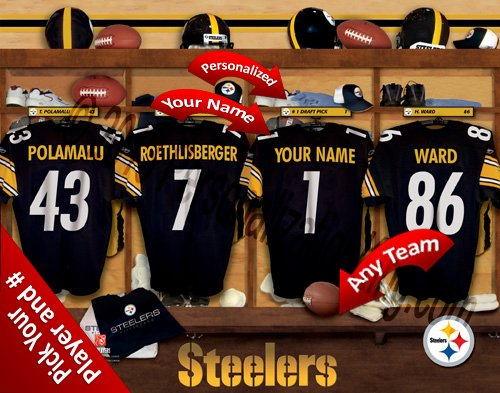 Pittsburgh Steelers Team Locker Room Clubhouse Personlized Officially Licensed NFL Photo Print ()