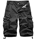 Osmyzcp Mens Cotton Relaxed Fit Outdoor Camouflage Camo Cargo Shorts-A082-Dark gray-28