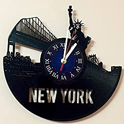 New York City - NYC - USA Art Vinyl Wall Clock Gift Room Modern Home Record Vintage Decoration Girt for Him and Her - Gift for Fan Gifts for Boys Gamers Girls Women You Prime Gift