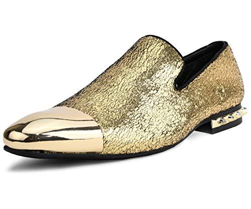Amali Men's Crinkle Metallic Smoking Slipper with Spiked Heel and Metal Tip Dress Shoe, Style ()