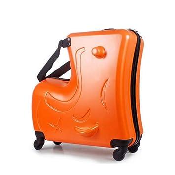 Maleta para niños/niños Se Puede sentar Maleta Trolley Dibujos Animados para bebés Rueda giratoria Equipaje (Color : Orange, Tamaño : 20 Inches): Amazon.es: ...