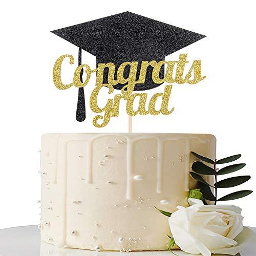Congrats Grad Cake Topper - 2019 Graduation Party Decorations Supplies - Graduation Cake Topper - Happy Graduation Party Decorations (Gold and Black)