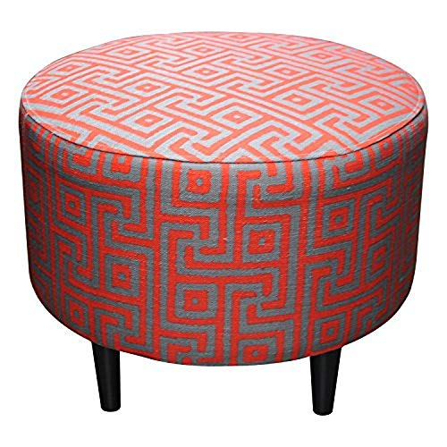 (Sole Designs Sophia Collection Round Upholstered Ottoman with Espresso Leg Finish, Atomic Red)