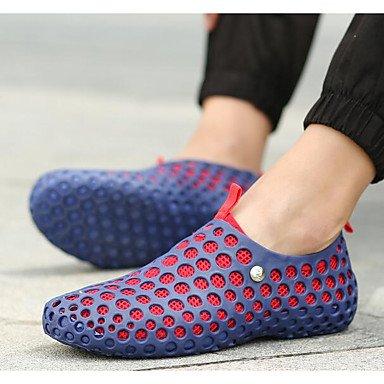 Los hombres sandalias zapatos agujero confort par zapatos casual de resorte de goma azul gris Negro,negro plano Blue