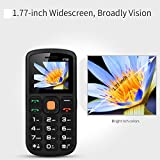 Unlocked Cell Phone, UNIWA Senior Cell Phone Elderly Old Man GSM Mobile Phone Dual SIM Big Button 1.77 Inch Screen Large Digital Emergency Phone with FM Radio & SOS Emergency Button& Torch