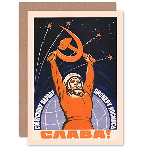 Price comparison product image Wee Blue Coo New Propaganda Cosmonaut Gagarin USSR RED Communism Blank Greetings Card CP1243