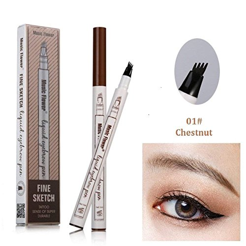 Tattoo Eyebrow Pen with Four Tips Long-lasting Waterproof Brow Gel and Tint Dye Cream for Eyes Makeup(1#Chestnut)]()