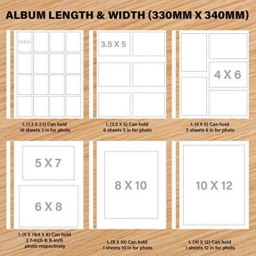 Safedealshop Magnetic Self-Stick Page Photo Album,Unique Luminous Line, Wedding Photo Album, Family Album, Leather Cover, Housewarming, Anniversary DIY Albums Holds 3X5,4X6,5X7, 6X8,8X10 Photos