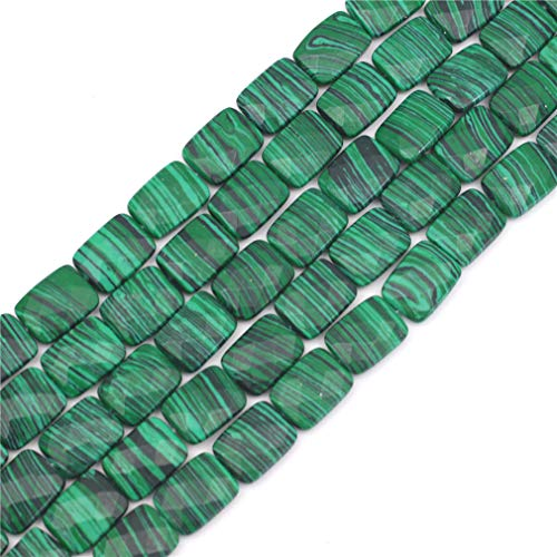 Oameusa Agate Beads 12x16mm Malachite Rectangle Agate Beads Round Beads Gemstone Beads Loose Beads Accessories Agate Beads for Jewelry Making 8