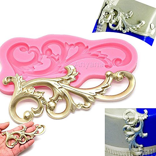 Anyana Wedding Vintage Relief Flourish Silicone Mold Sugarcraft Fondant Cake Decorating Tools Chocolate Mould Stencil Wilton cupcake Cookie baking (Resin Relief)
