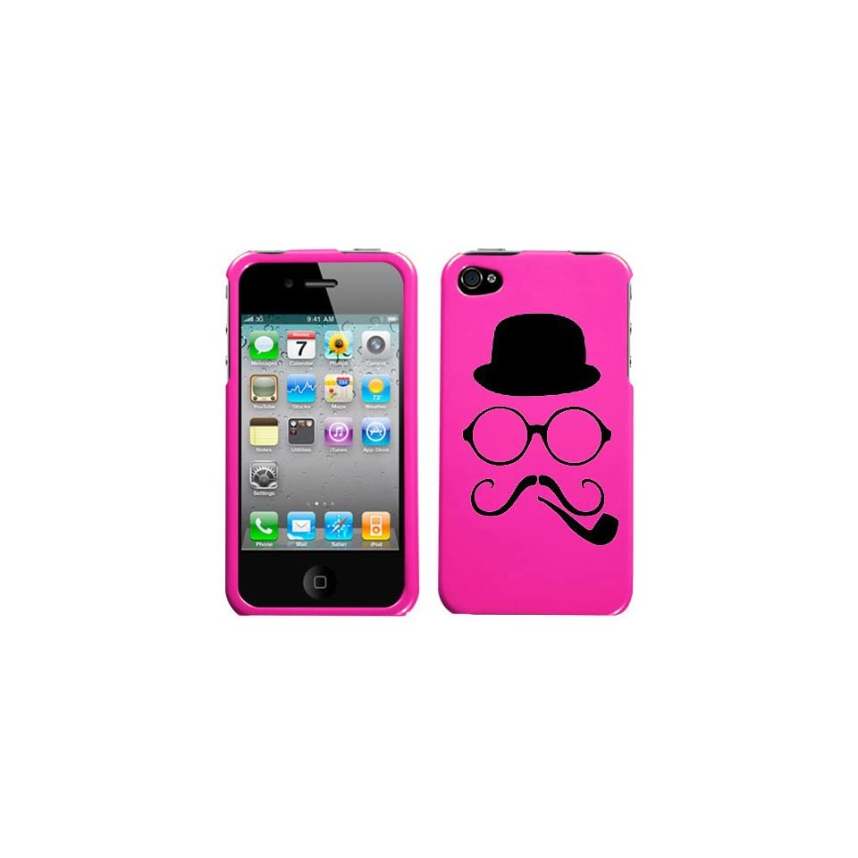 black silhouette of hat round glasses twirly mustache and smoking pipe design on magenta pink phone case for apple iphone 4/4S