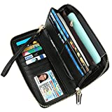 Dante RFID Blocking Wax Real Leather Zip Around Wallet Clutch Large Travel Purse for Women(Pebble Black)