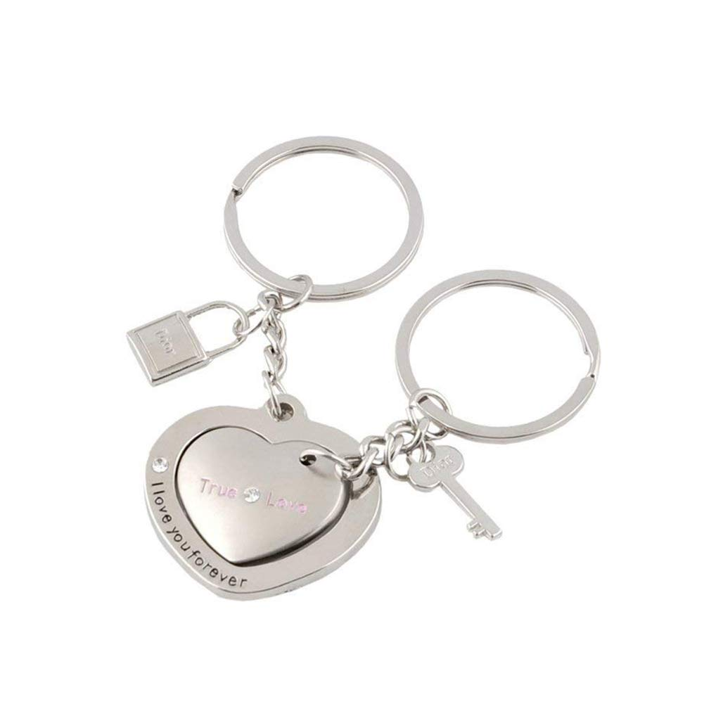 2 Pc of Love True Couple Keyrings Key Lock Heart Key for Valentine's Day Gift by Wudi (Image #3)
