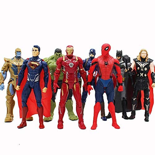 PAPWELL Set 8 Avengers Action Figures 6.7 inch Hot Toys DC Marvel Legends Thanos Hulk Iron Man Captain America Thor Batman Superman Spiderman Figure Toy Christmas Halloween Collectibles Gift for Kids