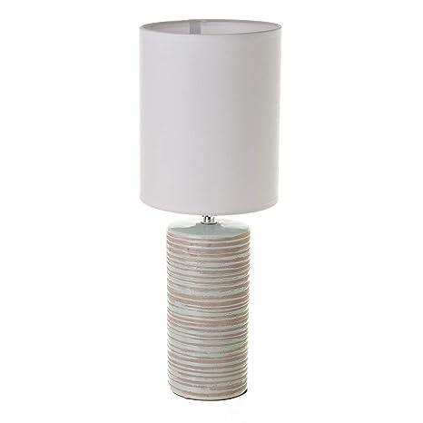 Lámpara de Mesa de cerámica Azul rústica para salón Bretaña ...