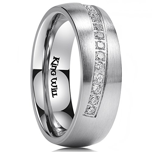 King Will 8mm Mens Stainless Steel Wedding Ring Inlay with 14 Cubic-zircons Matte Finish Dome Style 12 by King Will