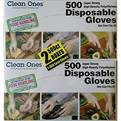 Clean Ones 1000-Count Disposable Food-Safe Poly Gloves, One Size