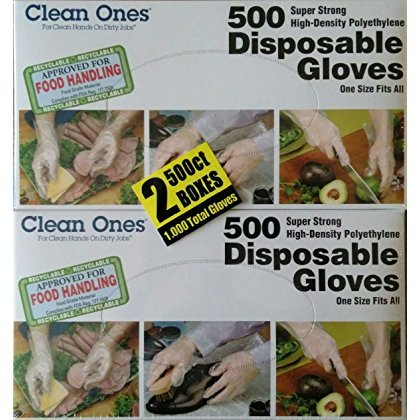 Clean Ones 500 Count Disposable Poly Gloves, Pack of 2, 1000, Clear by Clean Ones