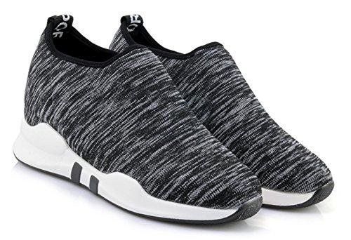 Aisun Baskets À Bout Rond Pour Femme - Slip On High Top Chaussures De Sport - Casual Respirant Noir
