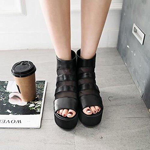 Easemax Womens À La Mode Maille Couture Zipper Peep Toe Plate-forme Hauteur Talon Caché Boot Sandales Noir