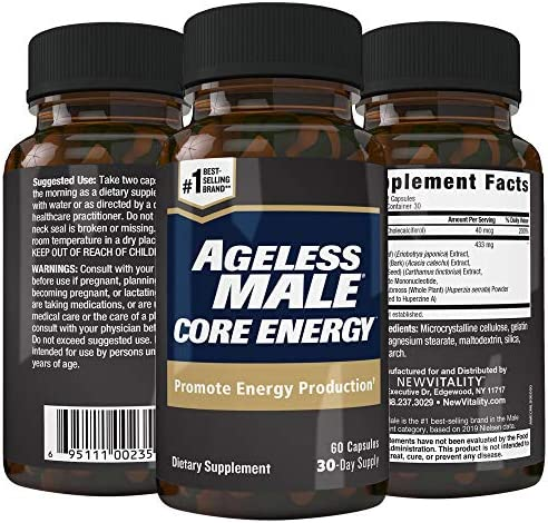 Ageless Male Core Energy for Men – Fast-Absorbing NMN for Conversion to NAD – Fight Fatigue Promote Sustainable Energy on The Cellular Level, No Caffeine 60 Capsules, 1 Bottle
