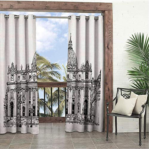 Linhomedecor Balcony Waterproof Curtains Ancient Detailed Monochrome Architecture Drawing of Saint Peters Building Vatican Italy Black White pergola Grommets Cabana Curtain 108 by 96 inch