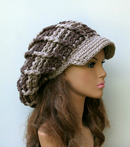 HANDMADE Neutral Visor Newsboy cap, woman man Slouchy Beanie