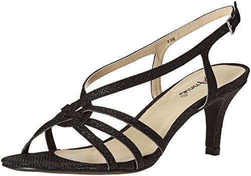Annie Shoes Women's Lil Wide Calf Dress Sandal, Black, 9 W US
