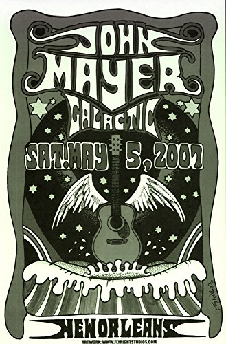 John Mayer- Galactic Live May 5th 2007 Retro Art Print - Poster Size - Print of Retro Concert Poster - Features John Mayer, Pino Palladino and Steve Jordan - Concert Poster Retro