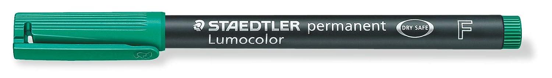 Caja con 10 unidades. Rotuladores de punta fina de color verde Staedtler Lumocolor 318-5