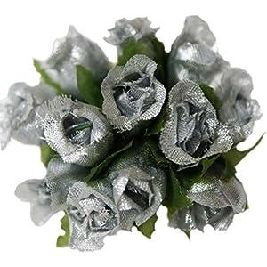 144 Poly Rose Silk Favor Flower Pick Wedding Shower - Silver 99