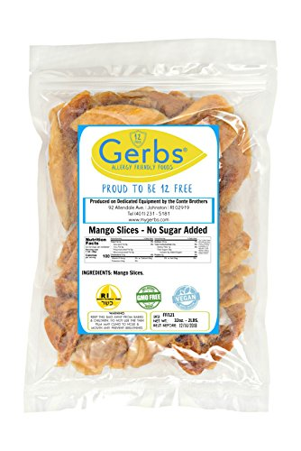 Dried Mango No Sugar Added, 2 LBS - Preservative Free & Unsulfured by Gerbs - Top 12 Food Allergy Free & NON GMO - Product of Thailand